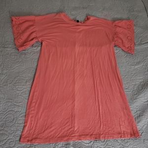 Coral shirt dress with lace sleeves